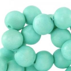 Perle en bois 16mm turquoise clair