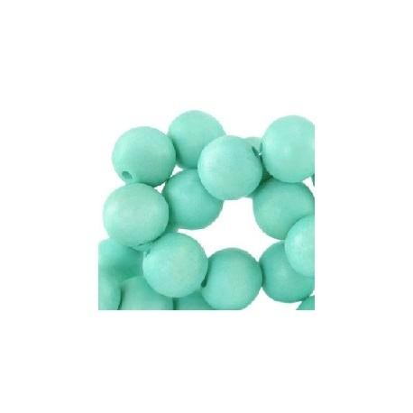 Perle en bois 12mm turquoise clair