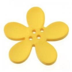 Orchidee résine 4 trous 40mm jaune