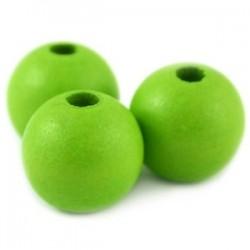 Perle en bois 12mm vert pomme