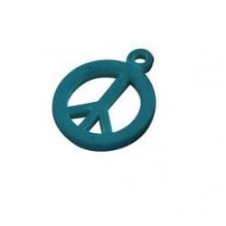pendentif peace synthétique 14mm bleu mat