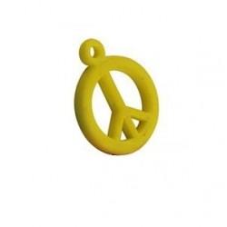pendentif peace synthétique 14mm jaune mat
