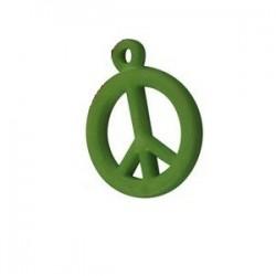 pendentif peace synthétique 14mm vert mat