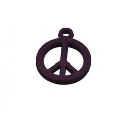 pendentif peace synthétique14mm mauve mat