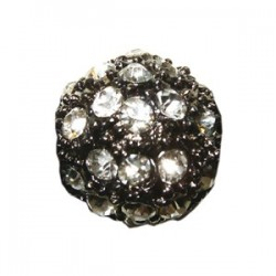 Perle metal argenté strass shamballa 10mm crystal