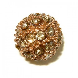 Perle metal doré trass shamballa 10mm crystal