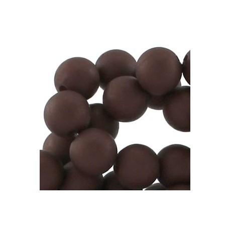 Perle en résine mat 10mm Brun Foncé T05