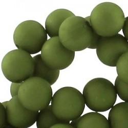 Perle en résine 12mm Vert Olive mat Q06