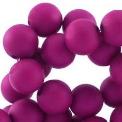 Perle en résine 12mm Fuchsia Foncé mat