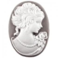 Cabochon camée oval résine blanc gris foncé 18x25mm