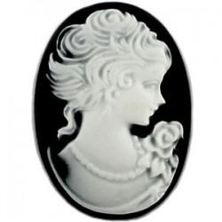 Cabochon camée oval résine Blanc Noir18x25mm