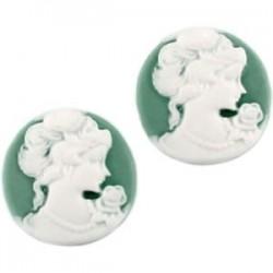 Cabochon camée rond résine Vert et Blanc 20mm