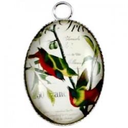 Pendentif Oval en métal 30 x 18 mm Oiseau