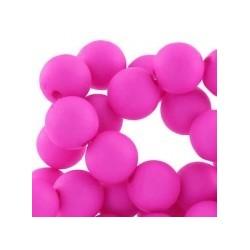 Perle en résine 10mm Rose Vif mat T37