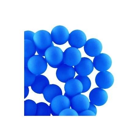 Perle en résine 8mm Bleu Cobalt Fluo Mat