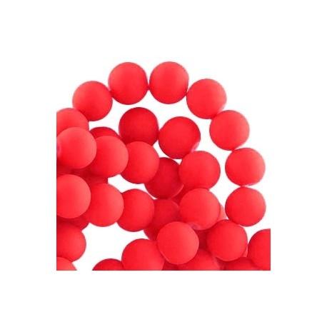 Perle en résine 8mm Rouge Vif mat Z49