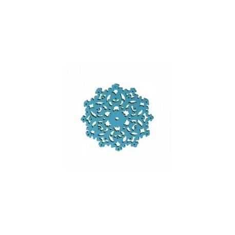 Plaque Filigré Bois Bleu Turquoise fleur 30mm