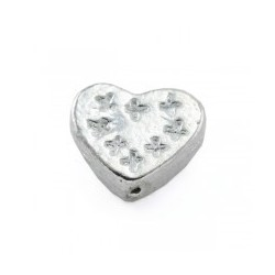 Perle coeur 11x10x4mm argenté