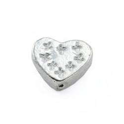 Perle coeur 11x10x4mm argenté
