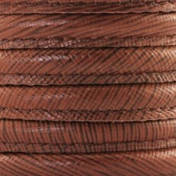 Cordon de cuir cousu DQ brun chaud rayé 8x5mm/20cm