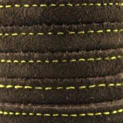 Cordon de cuir cousu Brun foncé avec surpiqûres jaunes 8x5mm/20cm