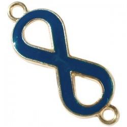Pendentif métal doré Infini 2 anneaux 40x15mm émaillé Bleu