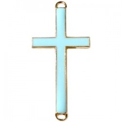 Pendentif métal doré croix 2 anneaux 46x23mm émaillé Bleu