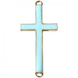 Pendentif métal doré croix 2 anneaux 37x17mm émaillé Bleu