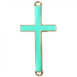 Pendentif métal doré croix 2 anneaux 37x17mm émaillé Vert Turquoise