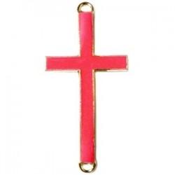 Pendentif métal doré croix 2 anneaux 37x17mm émaillé Rouge