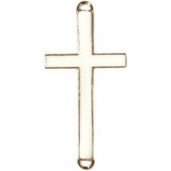 Pendentif métal doré croix 2 anneaux 37x17mm émaillé Blanc