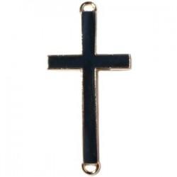 Pendentif métal doré croix 2 anneaux 37x17mm Noir