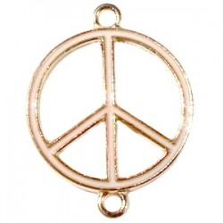 Pendentif métal doré peace 2 anneaux 29x22mm émaillé Pêche
