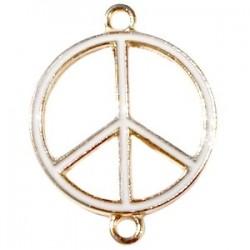 Pendentif métal doré peace 2 anneaux 29x22mm émaillé Blanc