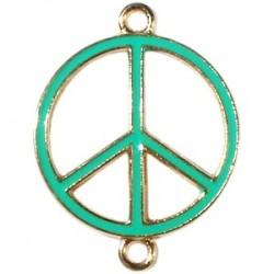 Pendentif métal doré peace 2 anneaux 29x22mm émaillé Vert