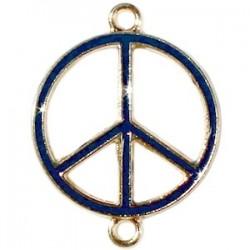 Pendentif métal doré peace 2 anneaux 29x22mm émaillé Bleu