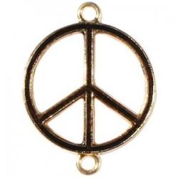 Pendentif métal doré peace 2 anneaux 29x22mm émaillé Noir
