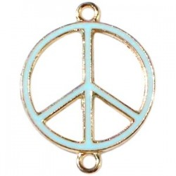 Pendentif métal doré peace 2 anneaux 29x22mm émaillé Bleu Ciel
