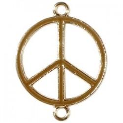 Pendentif métal doré peace 2 anneaux 29x22mm émaillé Brun