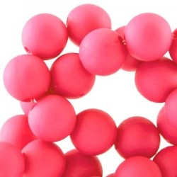 Perle en résine 6mm Fushia mat