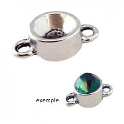 Pendentif Rond en métal deux anneaux 17 x 10 mm pour strass