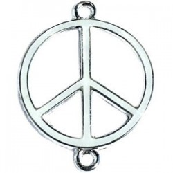 Pendentif métal argenté peace 2 anneaux 29x22mm émaillé Blanc