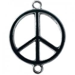 Pendentif métal argenté peace 2 anneaux 29x22mm Noir