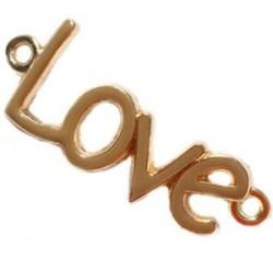 Pendentif Doré Love 2 anneaux 40x16mm Brun