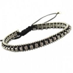 Bracelet Coton Noir avec Strass Crystal