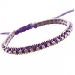 Bracelet Coton Mauve avec Strass Crystal