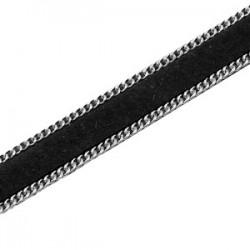 Imitation Cuir Suédé Noir Plat 10mm avec Chaîne Argentée /20 cm