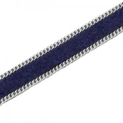 Imitation Cuir Suédé Bleu Foncé Plat 10mm avec Chaîne Argentée /20 cm