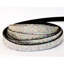 Cuir Plat Glitter Argenté AB 10mm/20cm