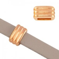 Perle Passant Striée 4.5x8x5mm Rose Gold
